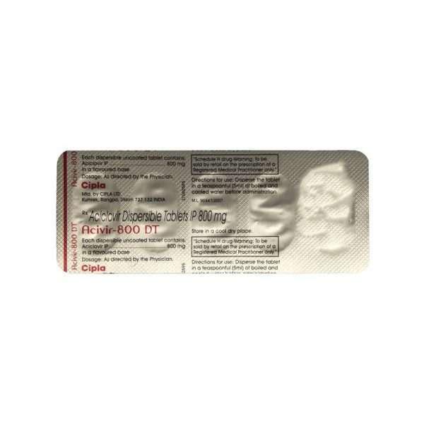 acivir dt tablet acyclovir 800mg 5