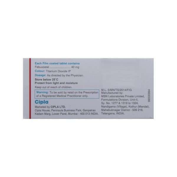 febucip tablet febuxostat 40mg 3