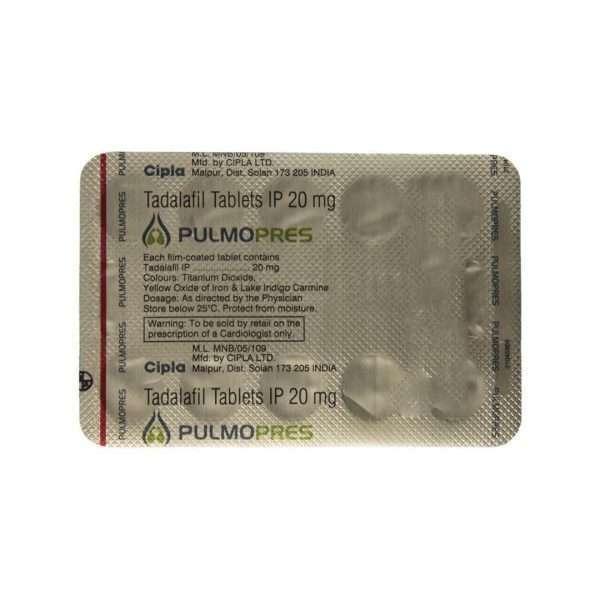 pulmopres tablet tadalafil 20mg 5