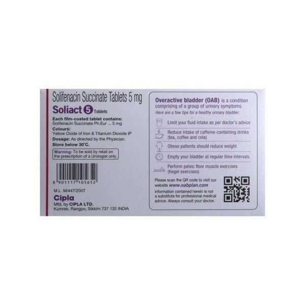 soliact tablet solifenacin 5mg 3