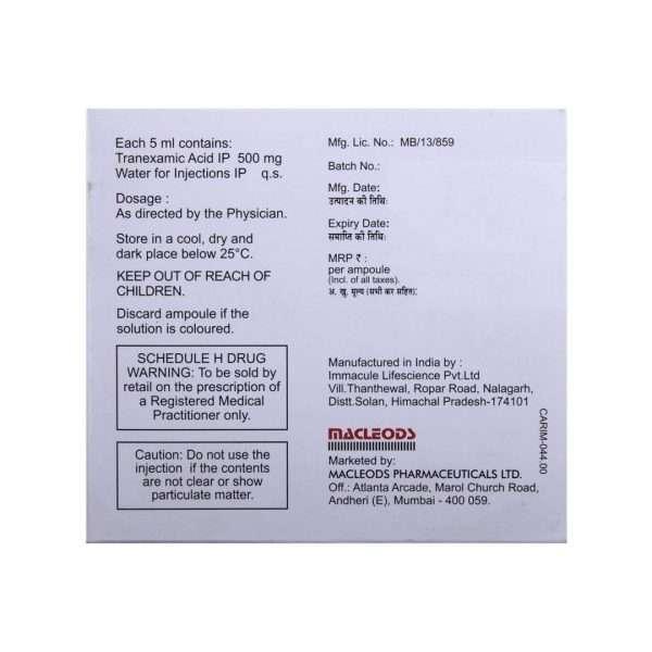 trenaxa injection tranexamic acid 500mg 4