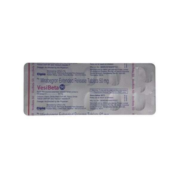 vesibeta er tablet mirabegron 50mg 5